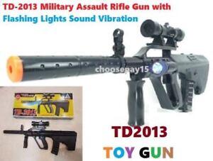 TD-2013 Kids Toy Gun Military Assault Rifle With Flashing Lights Sound Vibration
