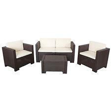 Set per esterno marrone polipropilene divano due posti 2 poltrone e 1 tavolino