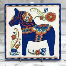 Blue Dala Horse Dalahäst Trivet Art Tile Plaque Sign Wall Hanging Sweden Sverige