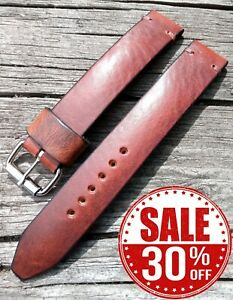 XL Extra long Military tan brown leather watch strap band 18 19 20 22 24mm