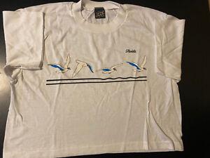 Vintage 80s Florida Seagulls White Crop Top Half T-Shirt Summer Beach Vacation