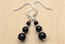 Black Agate Gemstone Earrings With Sterling Silver Hooks Drops Dangle New LB1197