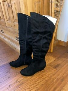 NEW Womens Black Boots TALL SHAFT WIDE CALF Wedge Sole 11WW COMFORTVIEW Suede