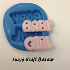 Silicone Mould New Baby Girl Words Shower Birth Cupcake Topper Decorating Fimo