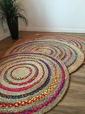 ❤️ROUND BRAIDED STRIPE RUG NATURAL JUTE & MULTI COLOUR RAINBOW FABRIC RUG 100cm