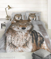 CLASSIC KING SIZE WINTER WOLF BROWN COTTON BLEND DUVET COVER SET