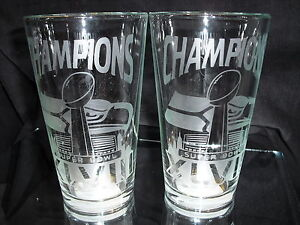 2014 SUPERBOWL 48 CHAMPION SEATTLE SEAHWKS 2 ETCHED LOGO 16oz PINT GLASSES NEW
