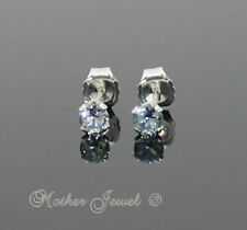 3mm Real Solid 925 STERLING SILVER Ice Blue Aqua CZ Girl Earrings Unisex Studs