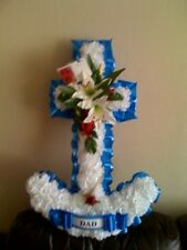 ARTIFICIAL SILK FUNERAL FLOWERS ANCHOR WREATH GRAVE FLORAL TRIBUTE NAVY DAD