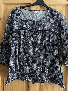 M&Co Spirit Kaftan Style Top  Size 20 Blue print 3/4 length Sleeves BNWT