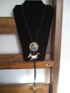 Leather Bolo Artisan Bull Rider Pendant/Charms and LongHorns