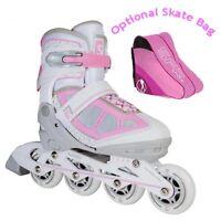 Skatelife Lava Adjustable Inline Roller Skates Kids Adults Pink/Grey