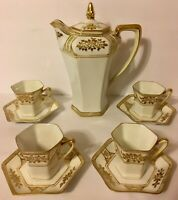 Noritake White Gold Chocolate Pot Cups Saucers 10pc Set Green Wreath Antique