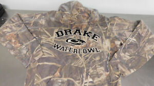 DRAKE WATERFOWL SYSTEMS CAMO PERFORMANCE HOODIE Brown CAMO Size SMALL