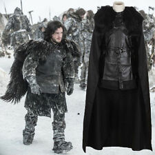 Game of Thrones Jon Snow Men Cosplay Costume Halloween Cloak Outfit Set + Gloves