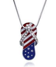 4th of July American Flag Flip Flop Beach Sandal Flower Pendant Necklace