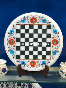 """12"""" White Marble Chess Table Top Turquoise Carnelian Inlay Floral Decors E125"""