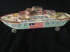 Vintage Tin Litho Toy Boat U.S. Battleship S.S. America made by Wyandotte Toys