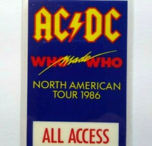 AC/DC Backstage Pass Who Made Who Laminated Hard Rock Music North America 1986