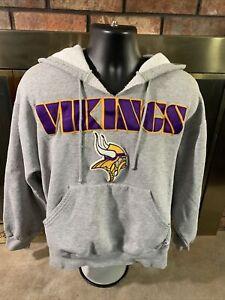 Minnesota Vikings NFL Football Hooded Skol Sweatshirt Mens Medium Gray Majestic