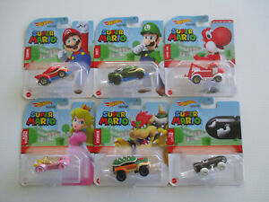 HOT WHEELS CHARACTER CARS *SUPER MARIO* Complete set of 6 incl RED YOSHI NEW!