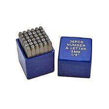 36 pc 1/8' 3MM Letter & Number Steel Stamp Die Punch Jewelers Set Metal in Case