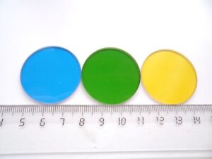 Set of three 33 mm light filters for microscope - blue, green, yellow
