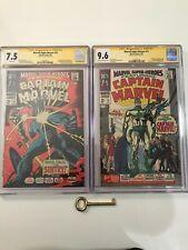 Marvel Super-Heroes #12 & 13 CGC 9.6 SS Signed Stan Lee 1st Captain Marvel LOT