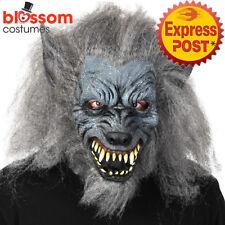 AC566 Adult Grey Werewolf Full Head Mask Horror Halloween Wolf Costume Accessory