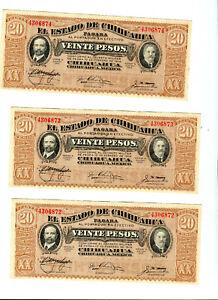 3 CU Consecutive SN#  1914 Pancho Villa 20 Peso Mexican Revolution Banknotes