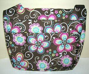 Bliss Tablet Messenger Bag Brown Floral Pattern Padded Water Resistant Adj Strap