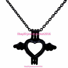 -H59 Black Necklace Heart Wing Beads Stone Pearl Cage Locket Pendant