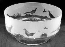 More details for pheasant frieze 24cm boxed crystal glass footed bowl