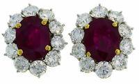 2 Ct Oval Cut Diamond & Ruby Women's Stud Earrings 14k White Gold Finish
