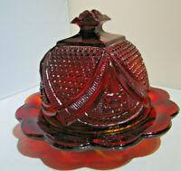 Vintage Amberina Glass Round Butter Dish