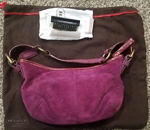 COACH Soho 9658 Shoulder Bag Purple Suede Leather Hobo Bag