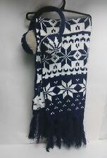 Ladies Scarf and Ear Muffs Winter Christmas Set Snow Flake Design On Both OSFM