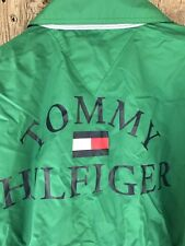 RARE Vtg 90s TOMMY HILFIGER Spellout Jacket Light Zip Windbreaker L Green Flag