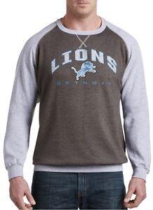 Detroit Lions NFL Mens Raglan Fleece Crew Sweatshirt Big & Tall Sizes