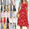 Womens Holiday Strappy Button Pocket Ladies Summer Beach Midi Swing Sun Dress