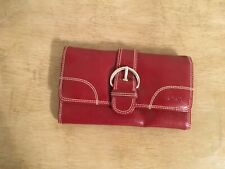 XOXO Rich Red Tri-Fold Wallet, Accent Stitching, Silver Hardware, GUC