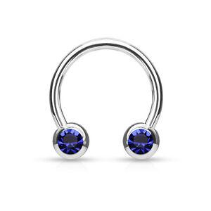 1pc Front Facing Gems Circular Barbell Horseshoe Lip Nipple Septum Ring 16g 14g