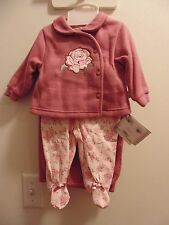 Rumble Tumble 4 piece 3/6 mo. girl outfit/top,pant,hat,blanket/ Dusty Pink/roses