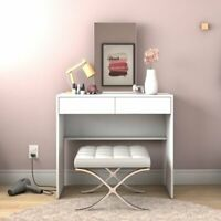 Vanity Set Dressing Table with Mirror, White, 2 Drawers