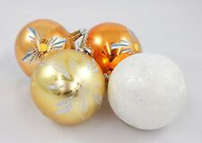 Vintage Orange White Silver Ball Christmas Ornament Holiday Decoration Lot w/Box