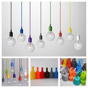 Modern Ceiling Silicone Pendant Lamp Holder Vintage Hanging Bulb Light Fitting