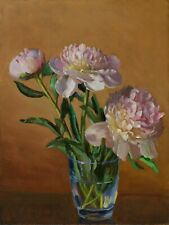 Original oil painting a day realism still life peony flower flora Y Wang 12x9 in