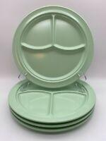 "SET OF 4 (5 SETS AVAIL) GREEN~PROLON DIVIDED DINNER PLATES #9927 MELAMINE 10.25"""