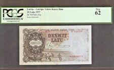 LATVIA 10 LATU P29 A 1937 PCGS BOAT UNC PRE EURO BANK NOTE MONEY BILL EUROPEAN