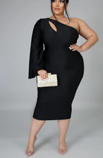 Women Plus Size Clothing Dress Evening Cocktail  One Shoulder Bodycon 1X 2X 3X